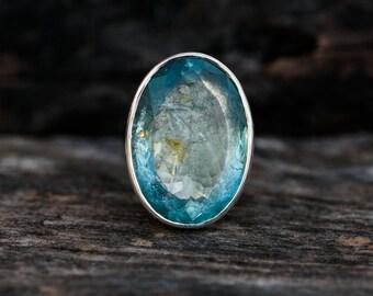 Aquamarine Ring 8 - Aquamarine Statement Ring Size 8 - Genuine Aquamarine and Sterling Silver Ring - Aquamarine Ring - Beautiful Blue Aqua 8