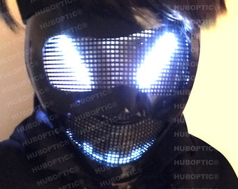 Hornet Eyes FX - White LED Robot Mask - Light Up Mask for DJ Party Costume Cosplay Superhero Villain Ghost Cyborg Cyber Rave Helmet Bot Head
