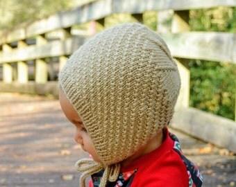 Textured Bonnet (Custom) / Knit Baby Bonnet / Knit Newborn Hat / Photo Prop / Baby Girl Bonnet / Baby Boy Bonnet