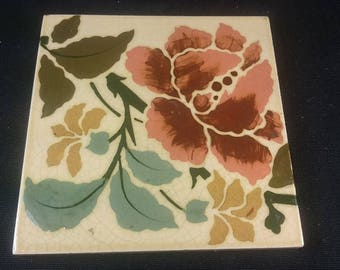 Antique Ceramic Pottery Flower Tile Early 1900's