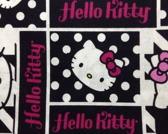 One Half Yard Fabric Material - Hello Kitty In Patchwork Squares