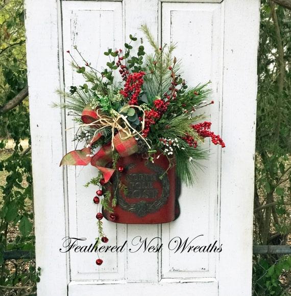 Christmas door wreath pocket wall