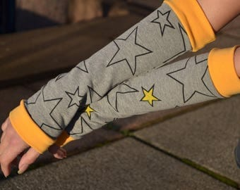 Arm warmers grey yellow star children