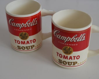 Two vintage Campbell tomato soup mugs