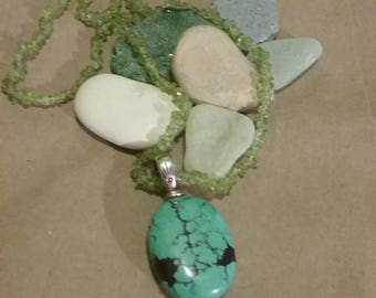 Turquoise and peridot necklace.
