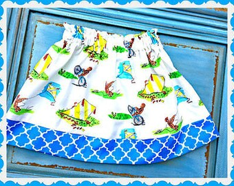 curious george skirt  2T 3T 4T 5T 4/5 6/6X 7/8 10/12 14/16 ready to ship