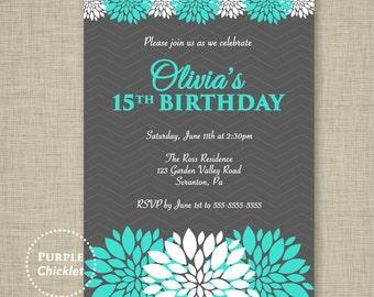 Turquoise and Gray Quinceañera Invitation 15th 30th 40th Floral Birthday Invite Personalized Party Printable Invite  JPEG file 338