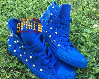 All royal blue studded converse kids and adults