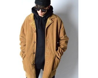 Vintage 90s Camel Faux Suede Coat 3_120217_M