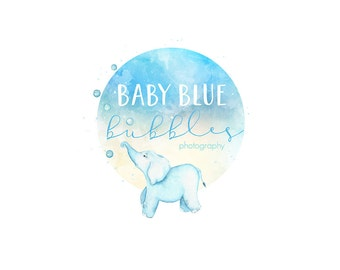 Watercolor Business Logo, watercolor design, photography, watermark, painted, elephant, circle - Newborn photography logo, maternity logo