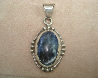 Sterling Silver Large Fancy Bezel Set  Pendant Taxco TC-134 Hallmark