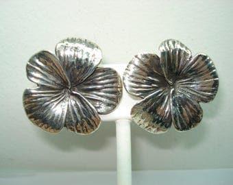 Large Sterling Silver Blooming Flower Pierced  Post Style Earrings