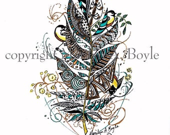 ZENTANGLE Print - HAND COLORED; Variation 6 of Musical Notes, chickadees, feather, metallic sparkle gel pens, wall art,