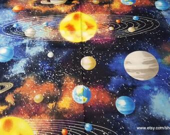 Flannel Fabric - Solar System - 1 yard - 100% Cotton Flannel
