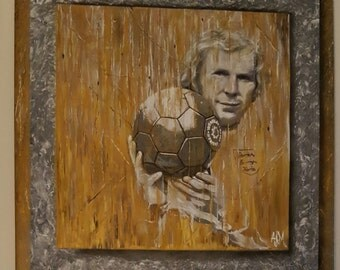 British Icons BOBBY MOORE West Ham original oil and acrylic painting by Andrew Ammons-Mistry