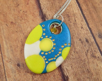 Polymer Clay Pendant. Oval Pendant. Polymer Clay Necklace. Sculpey. Fimo.