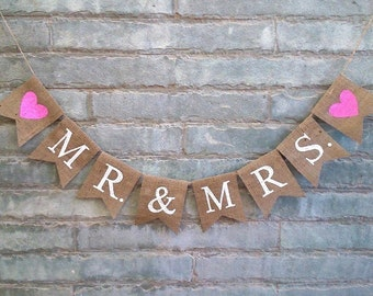 MR MRS Burlap Banner – Wedding Banner, Engagement Banner, Reception Banner, Wedding sign, Anniversary Banner, Photo prop.