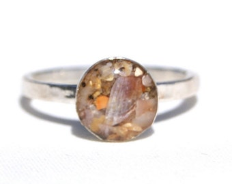 Sterling Silver Circle Sand Ring, Sand Jewelry Capturing Your Memories.