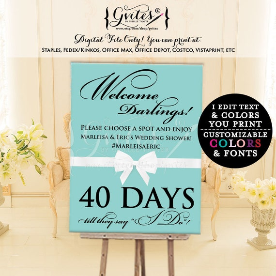 Welcome darlings countdown sign, bridal shower, wedding, breakfast at and co party printables, poster, signs, entrance decor, digital file.