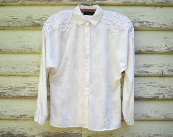 80s Vintage Lace Blouse Anthea Crawford Off White Shirt Boho Retro Hippie Batwing Sleeve Floral Satin Top Vtg 1980s Size S-M