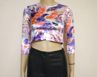 Vintage 90s Velvet Crop Top Clubkid Floral Tee Rainbow Butterfly Graphic Print T Shirt Vtg 1990s Size XXS