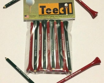 Golf Tee and Pencil in one! Merry Christmas Teecils! Pack of 10, great stocking stuffer!