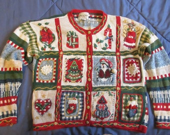 red green misses Christmas sweater button down 12 picture panes