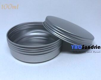 10pcs - 100ml Screw Lidded Blank Metal Tin Round Box *TB100ML*