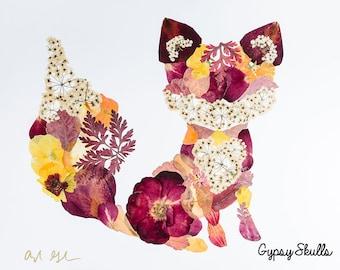 Pressed Flower Fox Print