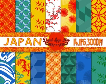 JAPANESE Digital Papers Pack - Seamless Patterns - 14pcs 300dpi (paper crafts,card making,scrapbooking) Personal and Commercial use