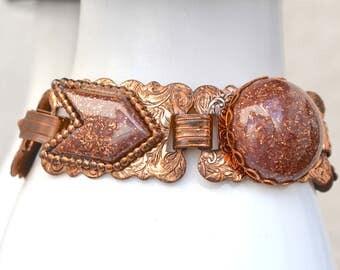 Faux Goldstone Lucite and Copper Bracelet Vintage