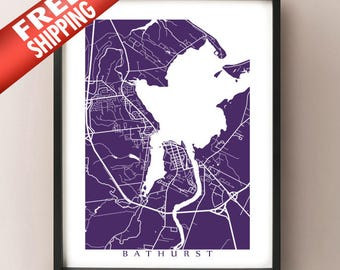 Bathurst Map - New Brunswick Art Poster