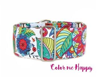 Floral Dog Collar, Pink Martingale Collar, Flowers Dog Collar, Handmade Etsy Collars, Chain Martingale or Regular Clip Collar, Trendy...