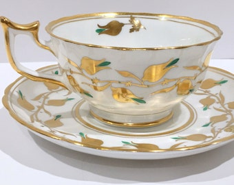 Turquoise Gold White Royal Standard Teacup and Saucer, English Teacups, Bone China Cup and Saucer, Tea Set, Aqua Tea Cup, Tea Cups