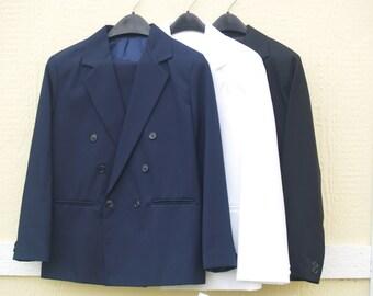 Boy's Husky 2 Piece Double Breasted Suit, Navy Blue Suit, White Suit, Black Suit, Communion, Wedding,Plus Size Boy's,Young Men Suits,Vintage