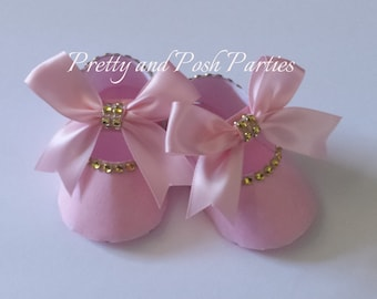 10 Adorable Pink with Gold Rhinestone Paper Shoe Favor Boxes