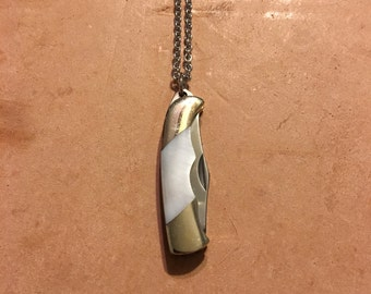 Mother of Pearl Mini Pocket Knife Necklace