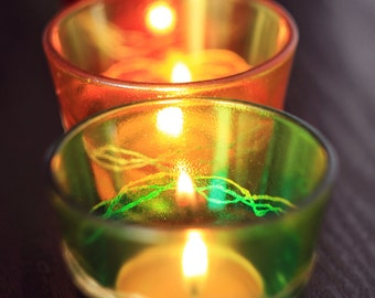 hand painted candle holder in three colors: green, yellow & red
