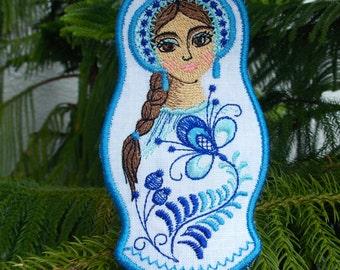 Christmas ~ Holiday ~Gift ~ Wreath Ornament Traditional Russian Style Mamushka~ Matryoshka~Babushka Machine Embroidered