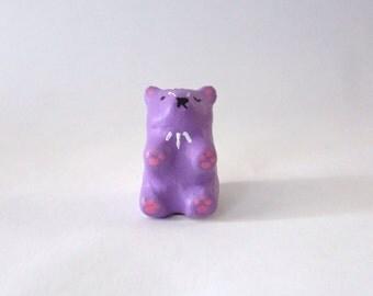 Chubby Winky Bear / Miniature Polymer Clay Animal Totem / collectible, figurine, tiny