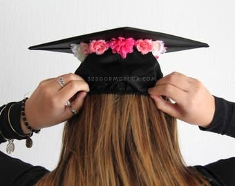 Graduation Cap | Pink Flower Crown