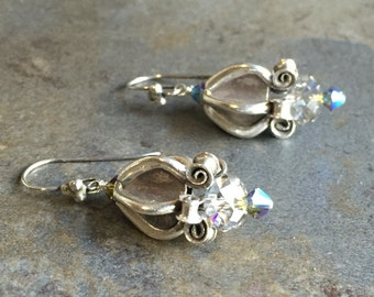 20 - Sterling Silver and Swarovki Earrings