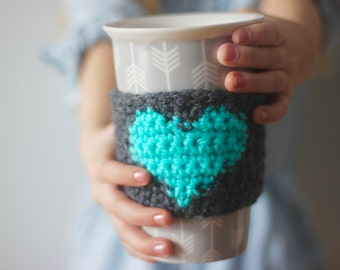 Coffee Cozy, Mug Cozy, Coffee Sleeve, Tea Cozy, Mug Warmer, Crochet Coffee Cozy. Cup Cosy, Cup Sleeve. Heart Coffee Cozy, Reusable Cozy