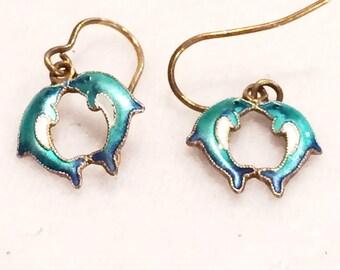 "Vintage  Kissing Dolphins  1/4"" Enamel (Cloisonne) Earrings"
