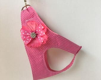 Step-In Dog Harness: Pink with Removable Sparkle Flower