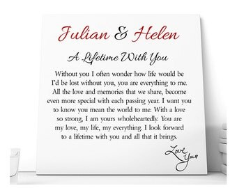A Lifetime With You Love Poem Ceramic Plaque.  Personalised