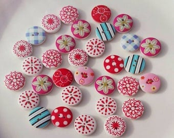 25 Wooden buttons baby Fantasy 15mm