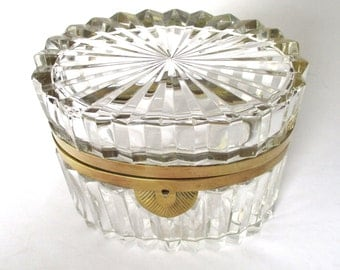 Antique French Ribbed Crystal Casket/ Box With Hinged Lid