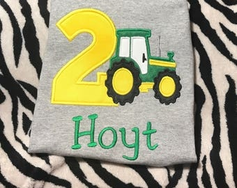 Personalized  Boys Tractor Birthday Shirt
