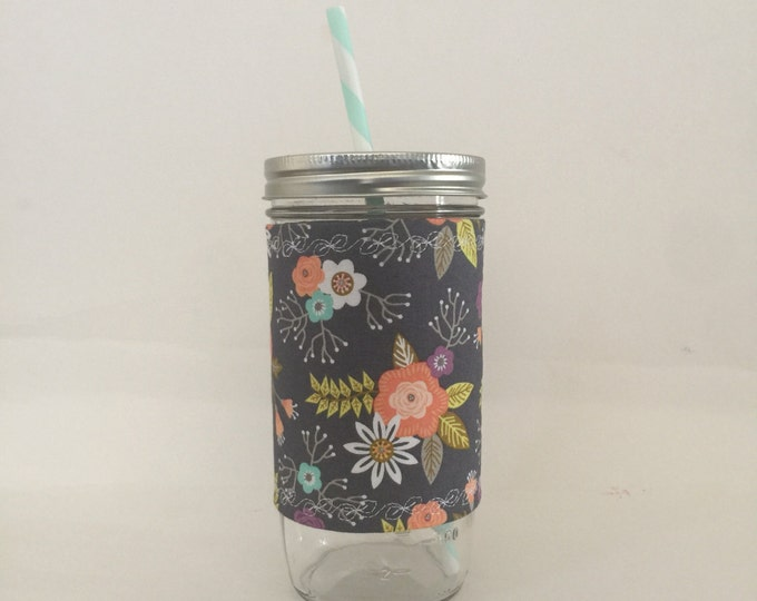 Grey, Mint, Coral, White Floral 24oz Cup Insulated Fabric Cozy w BPA Free Straw - Travel Mug Great Gift